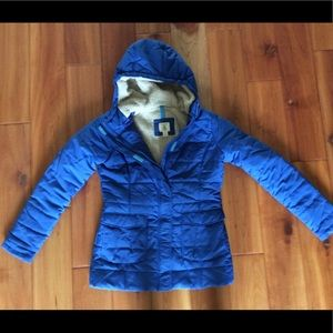 Lands End Kids blue puffer quilted hooded jacket